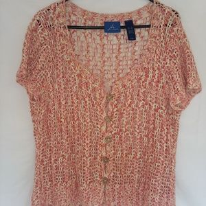 short sleeve open weave button front sweater